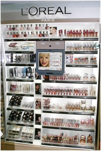 L'Oreal cosmetics display with EZface Kiosk